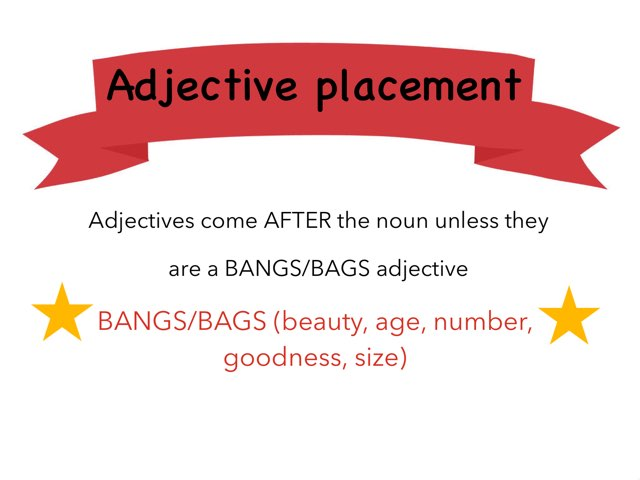 Play Adjective Agreement And Adjective Placement By Emma Chan On