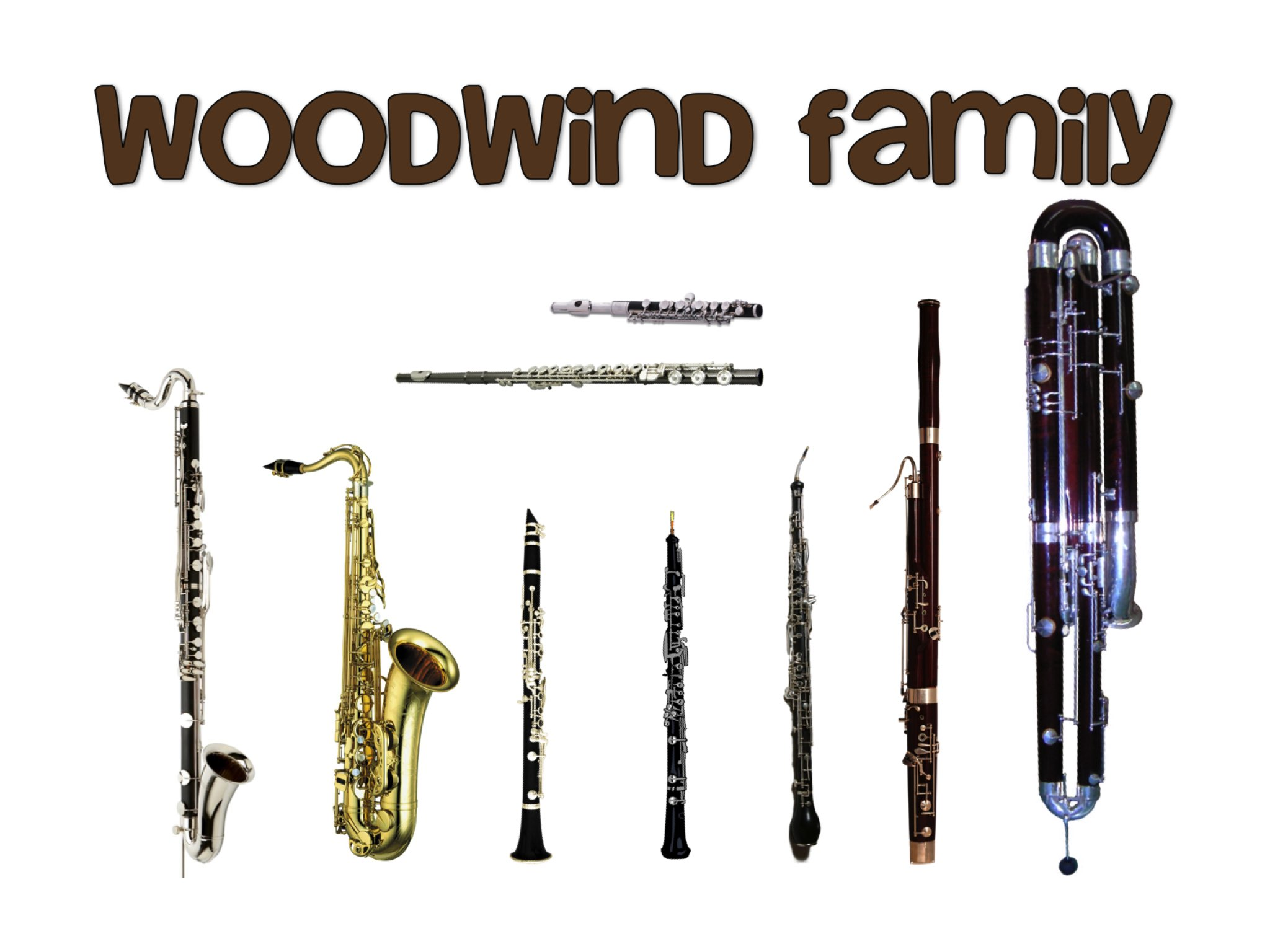 the four commonly used double reed instruments of the woodwind family A family of single reed instruments with mainly a cylindrical bore the most common ones used in double-reed woodwind instrument made from grenadilla.
